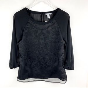 H&M Black Sheer Embroidered Blouse